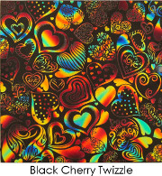 ArtGlassSupplies.com Etched Dichroic Crazy Hearts Pattern on Thin Black Glass - COE90