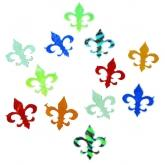 Dichroic Fleur-De-Lis, Assorted Colors, Pack of 4 - COE90