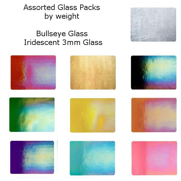 Assorted Iridescent Bullseye Glass Packs by the Pound, 3mm  - 5 lbs. - COE90