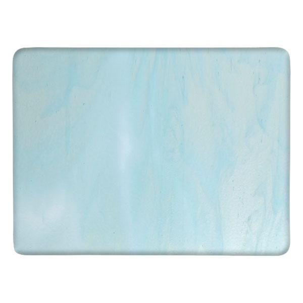 Bullseye Glass Aqua Blue Tint & White Streaky, Double-rolled, 3mm - COE90