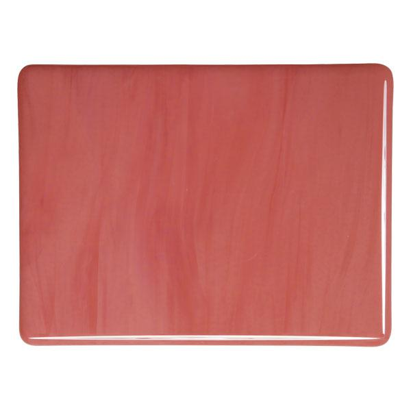Bullseye Glass Salmon Pink Opalescent, Double-rolled, 3mm - COE90
