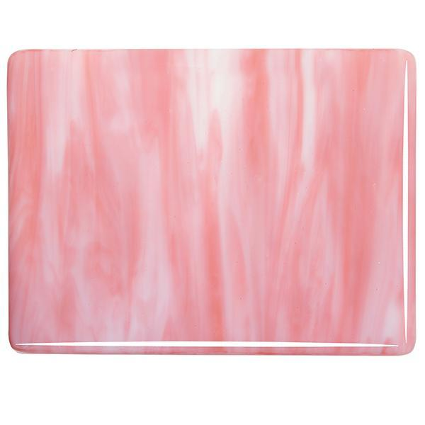 Bullseye Glass White Opal, Salmon Pink Opal Streaky, Double-rolled, 3mm - COE90