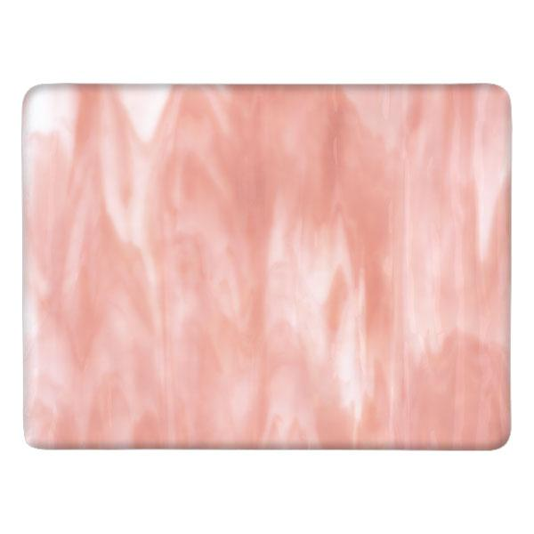Bullseye Glass White Opal, Salmon Pink Opal Streaky, Single-rolled, 3mm - COE90