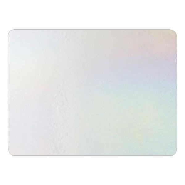 Bullseye Glass White Opalescent, Rainbow Iridescent, Double-rolled, 3mm - COE90