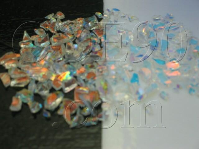 CBS Cyan/ Dark Dark Red Dichroic Frit 1oz On Clear Glass - COE90