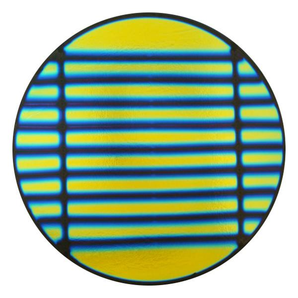 "CBS Dichroic Coating Blue/ Gold 1.5"" Stripes Pattern on Thin Black Glass - COE90"