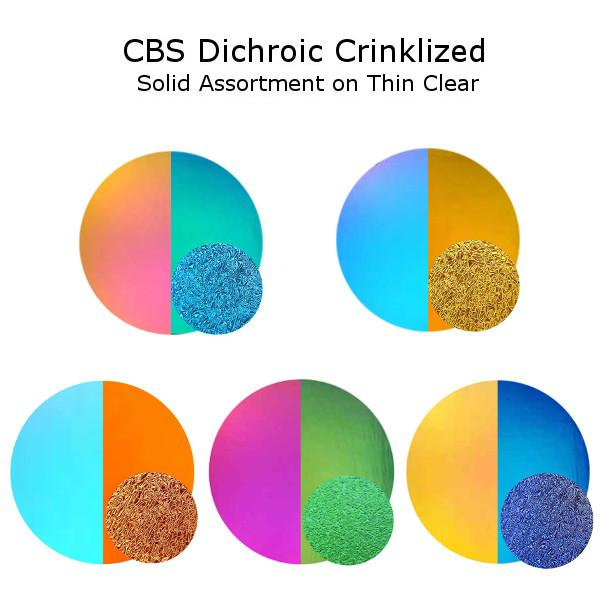 CBS Dichroic Crinklized Solid Assortment on Thin Clear - COE90
