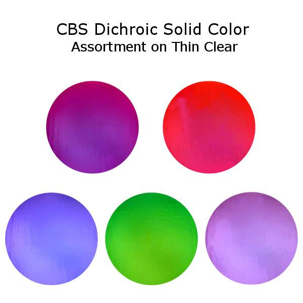 CBS Dichroic Solid Color Assortment on Thin Clear - COE96