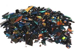 CBS Mixed Dichroic Frit 1oz On Black Glass - COE90