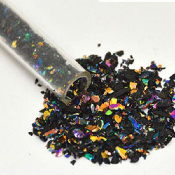 CBS Rainbow Dichroic Frit Flakes 1oz On Black Glass - COE90