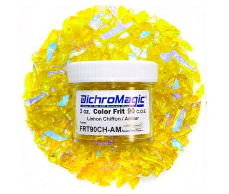 DichroMagic Amber/ Bright Blue Dichroic Frit 1oz On lemon Chiffon Glass - COE90