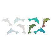Dichroic Dolphin, Small, Assorted Colors, Pack of 4 - COE90