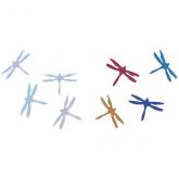 Dichroic Dragonfly, Small, Assorted Colors, Pack of 4 - COE90