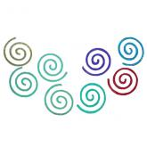 Dichroic Round Fire Spiral, Assorted Colors, Pack of 4 - COE90