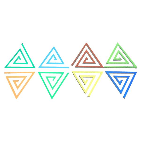 Dichroic Spiral Triangle, Assorted Colors, Pack of 4 - COE90