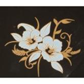Gold Metallic & White Art Deco Hibiscus Decals, Pack of Five
