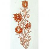 Gold Metallic & White Thistle Decals, Pack of Five
