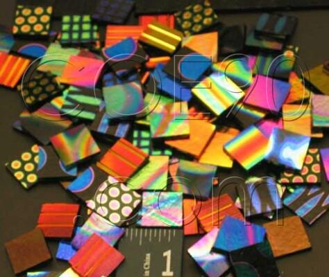 "1"" x 1"" CBS Dichroic Patterned Squares on 2mm Thin Glass. Mixed Lot of 20 Squares Per Pack. - COE90"