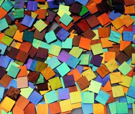 "1"" x 1"" CBS Dichroic Solid Color Squares on 2mm Thin Glass. Mixed Lot of 20 Squares Per Pack - COE90"