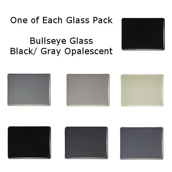 One of Each Glass Packs - Bullseye Glass Black/ Gray Opalescent - Thin-rolled 2mm - COE90