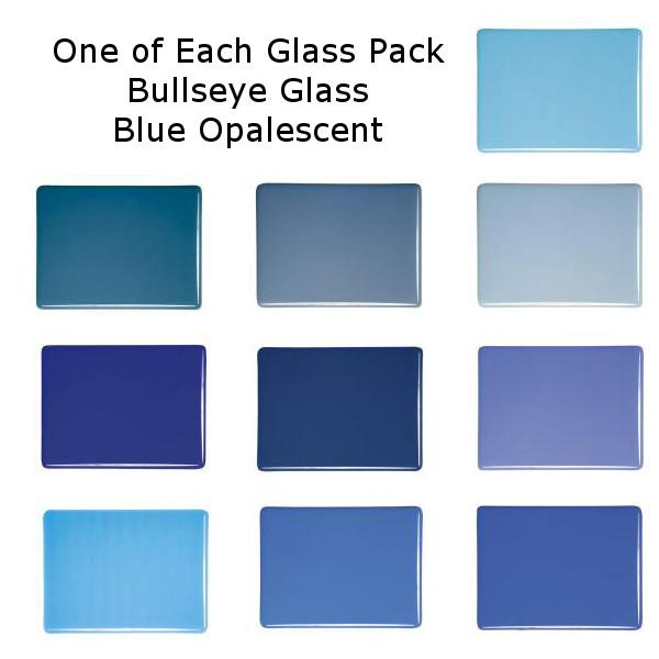 One of Each Glass Packs - Bullseye Glass Blue Opalescent - Double-rolled 3mm - COE90
