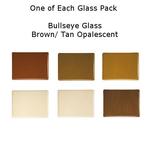One of Each Glass Packs - Bullseye Glass Tan/ Brown Opalescent - Double-rolled 3mm - COE90