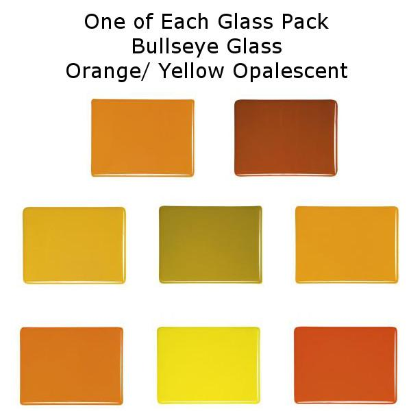One of Each Glass Packs - Bullseye Glass Yellow/ Orange Opalescent - Thin-rolled 2mm - COE90