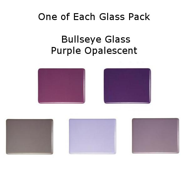 One of Each Glass Packs - Bullseye Glass Purple Opalescent - Thin-rolled 2mm - COE90