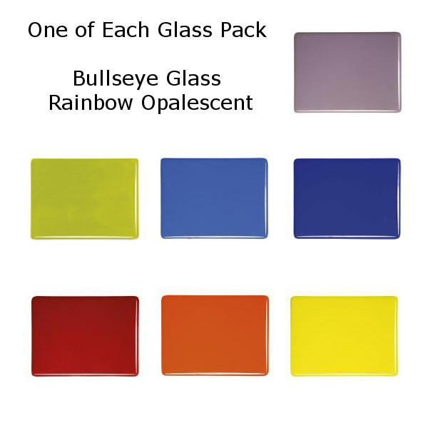 One of Each Glass Packs - Bullseye Glass Rainbow Opalescent - Thin-rolled 2mm - COE90