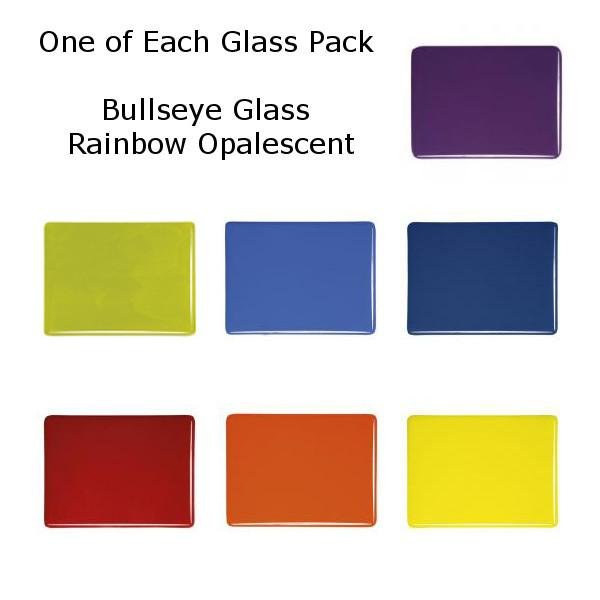 One of Each Glass Packs - Bullseye Glass Rainbow Opalescent - Double-rolled 3mm - COE90