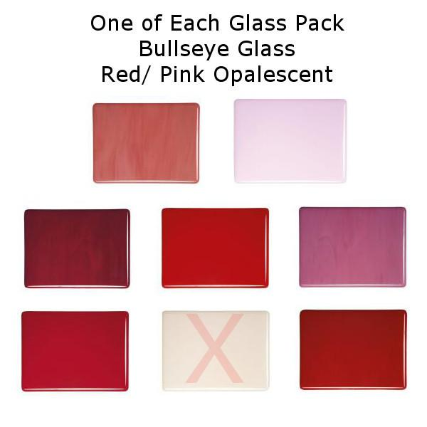 One of Each Glass Packs - Bullseye Glass Red/ Pink Opalescent - Double-rolled 3mm - COE90