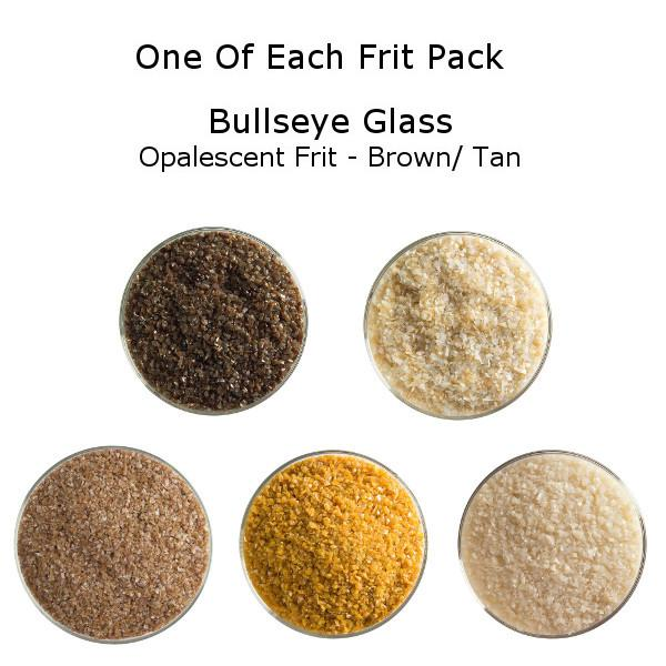 One of Each Frit Packs - Bullseye Glass Brown/ Tan Opalescent Frit - COE90