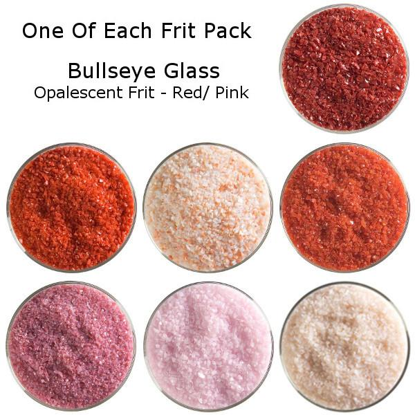 One of Each Frit Packs - Bullseye Glass Red/ Pink Opalescent Frit - COE90
