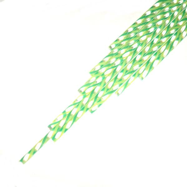 Twisted Cane - Clear with Spring Green and Jade Green Single Twist Cane - COE90